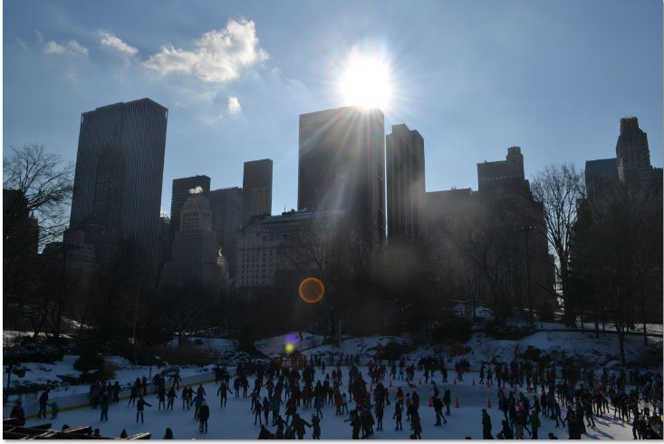 The view overlooking the ice rink and skyline at Central Park!