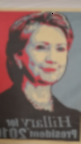 Hillary Clinton's face appears on merchandise owned by an NDP student.