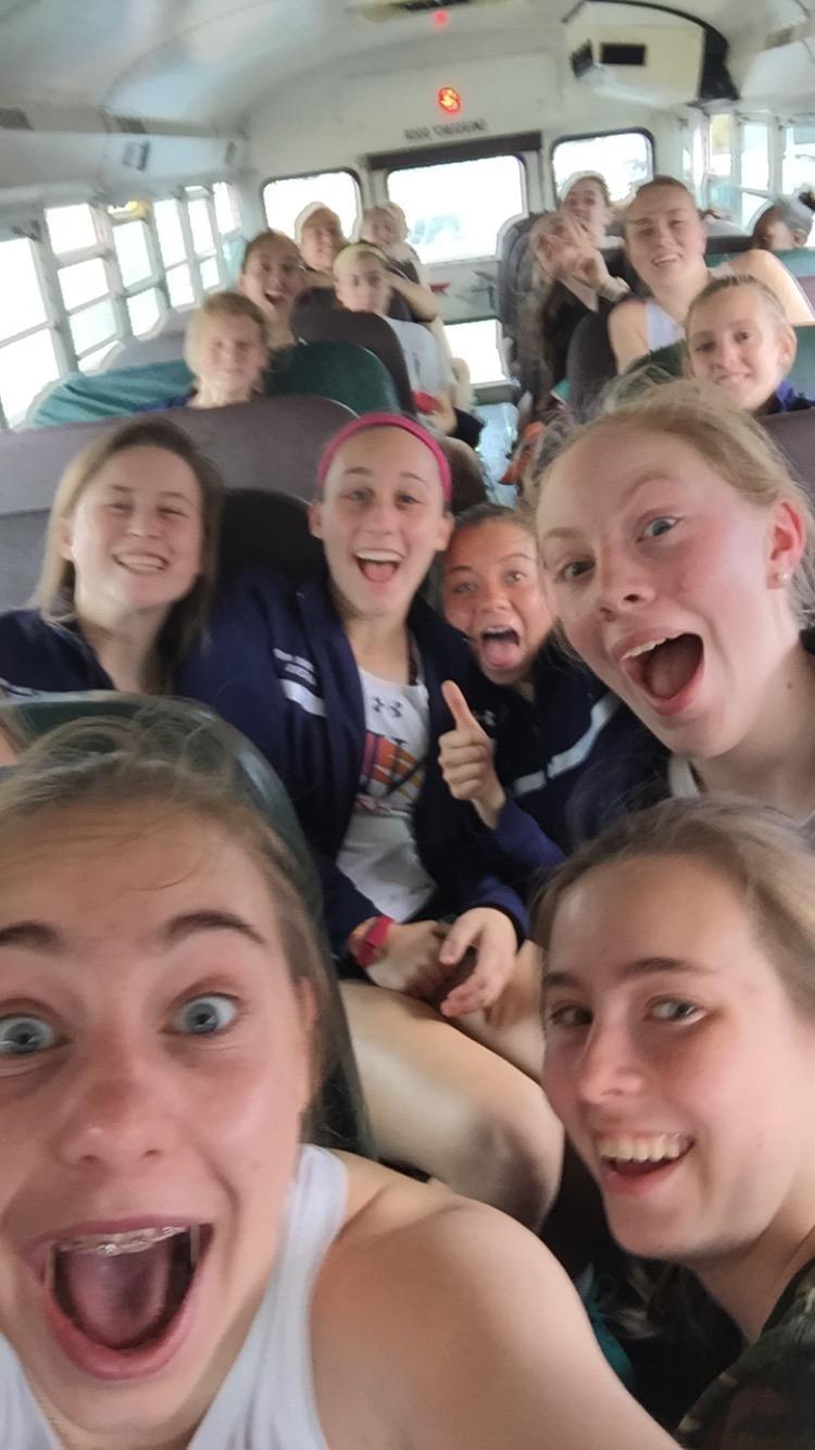 Selfie on the track team bus!