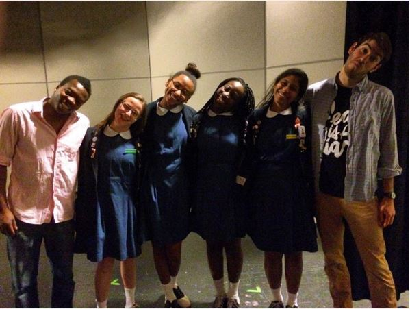 Iggy and Esteban from COMETRY with Katherine Battaglia '17, Marcell Guerra '17, Ella Ogundare '16, and Brianna Abraham '16