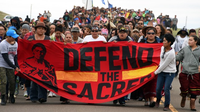 The Standing Rock Sioux march in protest of the Dakota Access Pipeline