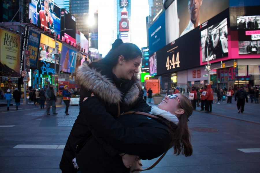 Maddie Saldana (left) and Anna Zittle (right) in Times Square, NYC