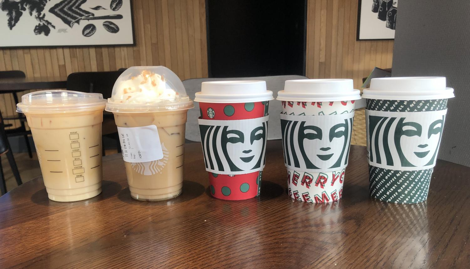 The lineup of holiday drinks available at Starbucks.