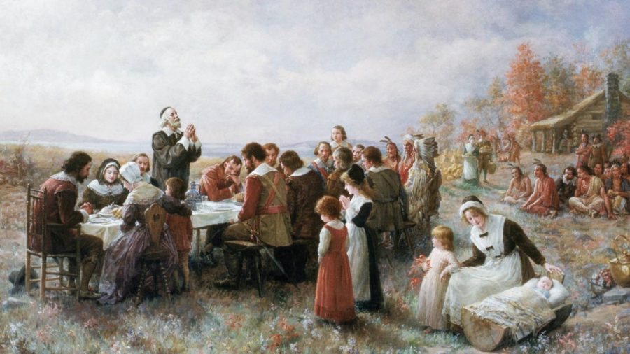 A common interpretation of the American fairytale surrounding the popular Thanksgiving holiday. Source: https://www.history.com/news/first-thanksgiving-colonists-native-americans-men