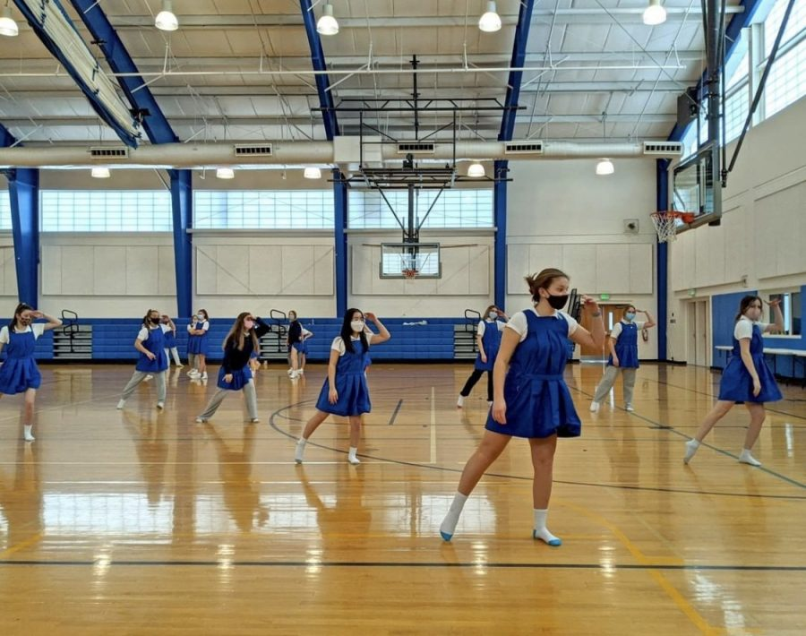 Sophomores practicing dance in the New Gym in preparation for Gym Meet. Photo credit: Ms. Carrie Burns.